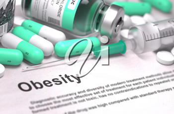 Diagnosis - Obesity. Medical Report with Composition of Medicaments - Light Green Pills, Injections and Syringe. Blurred Background with Selective Focus.