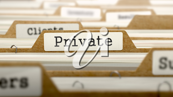 Private Concept. Word on Folder Register of Card Index. Selective Focus.