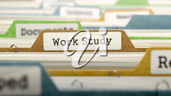 File Folder Labeled as Work Study in Multicolor Archive. Closeup View. Blurred Image.