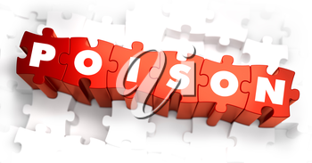 Poison - White Word on Red Puzzles on White Background. 3D Render.
