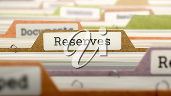 Reserves Concept on File Label in Multicolor Card Index. Closeup View. Selective Focus.