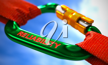 Green Carabiner between Red Ropes on Sky Background, Symbolizing the Reliability. Selective Focus. 3d Illustration.