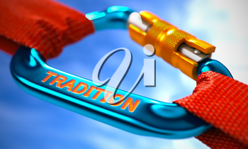 Blue Carabiner between Red Ropes on Sky Background, Symbolizing the Tradition. Selective Focus. 3d Illustration.