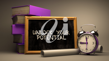 Hand Drawn Unlock Your Potential Concept  on Chalkboard. Blurred Background. Toned 3d Illustration.