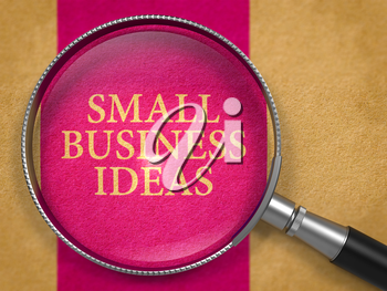 Small Business Ideas Concept through Magnifier on Old Paper with Lilac Vertical Line Background.