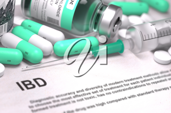 Diagnosis - IBD - Inflammatory Bowel Disease. Medical Concept with Light Green Pills, Injections and Syringe. Selective Focus. Blurred Background. 3d Render.