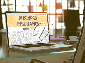 Business Insurance Concept Closeup on Landing Page of Laptop Screen in Modern Office Workplace. Toned Image with Selective Focus. 3d Render.