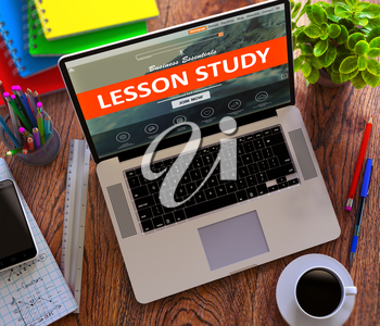 Lesson Study on Landing Page of Modern Laptop Screen. Educational, Development Concept. 3d Render.