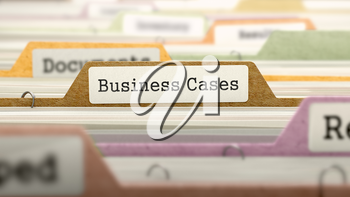 File Folder Labeled as Business Cases in Multicolor Archive. Closeup View. Blurred Image. 3d Render.