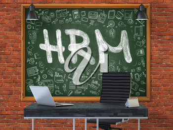 Hand Drawn HRM - Human Resources Management - on Green Chalkboard. Modern Office Interior . Red Brick Wall Background. Business Concept with Doodle Style Elements. 3D.