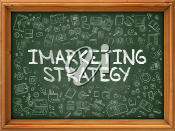 Hand Drawn Imarketing Strategy on Green Chalkboard. Hand Drawn Doodle Icons Around Chalkboard. Modern Illustration with Line Style.