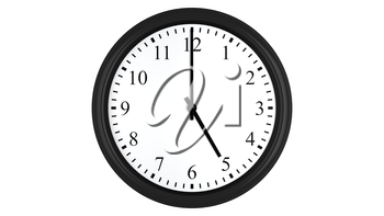 Realistic 3D render of a wall clock set at 5 o'clock, isolated on a white background.