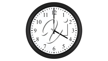 Realistic 3D render of a wall clock set at 4 o'clock, isolated on a white background.