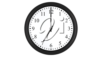 Realistic 3D render of a wall clock set at 7 o'clock, isolated on a white background.