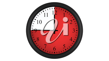 Wall clock showing a 45 minutes red time interval, isolated on a white background. Realistic 3D computer generated image.