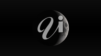 The Moon in waxing crescent phase on a black background. Digital illustration. Moon texture is public domain provided by NASA.