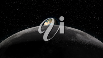 Planet Earth rising over the Moon horizon, partially visible. Digital 3D illustration. Elements of this illustration are furnished by NASA.