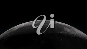 Close up of the Moon. Partially lit horizon on black background. Digital 3d illustration. Elements of this illustration are furnished by NASA.
