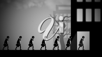Depressed white-collar workers marching to their daily office jobs. Conceptual illustration with a dark, dystopian feel, like George Orwell's 1984 or Metropolis.