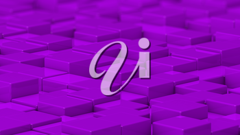 Grid of purple cubes in a randomized pattern. Medium shot. 3D computer generated background image.