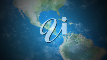 Central America on a world map with vignette and radial blur effect. Elements of this image are furnished by NASA.