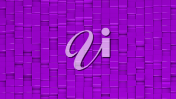 Grid of purple cubes in a randomized pattern. Wide shot. 3D computer generated background image.