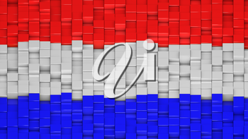 Dutch flag made of cubes in a random pattern. 3D computer generated image.