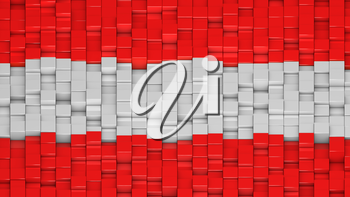 Austrian flag made of cubes in a random pattern. 3D computer generated image.