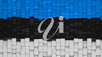Estonian flag made of cubes in a random pattern. 3D computer generated image.