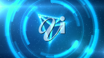 Blue TRON symbol centered on a starscape background with HUD elements.