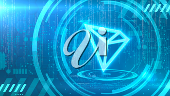 TRON symbol on a cyan background with HUD elements related to computer technology.