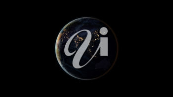 Planet Earth at night (also known as Black Marble) centered on the Asian continent. Black background. 3D computer generated image. Elements of this image are furnished by NASA.