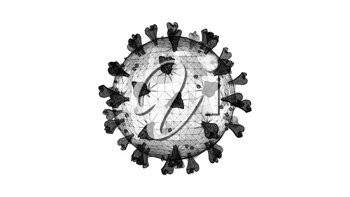 3D wireframe of a single coronavirus particle on a white background.