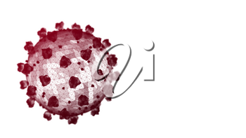 Dark red coronavirus particle on a white background. 3D wireframe render. Copyspace on the right.