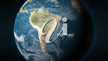 3D illustration depicting the location of Sao Paulo, Brazil, on a globe seen from space.