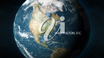 3D illustration depicting the location of Washington, D.C., capital of United States of America, on a globe seen from space.