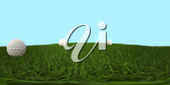 HDRI map with golf balls on green grass. 3D illustration