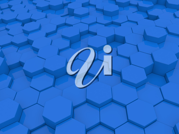 Abstract blue background of hexagons. 3d rendering illustration.