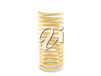 Gold metal spring on a white background. 3d illustration.