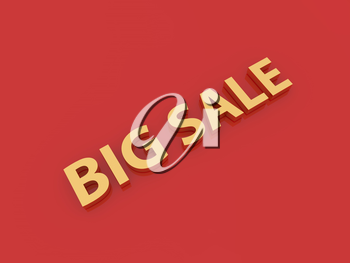Big sale inscription on a red background. 3d render illustration.