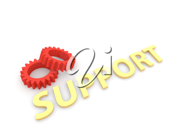 Gears support on a white background. 3d render illustration.