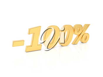 Discount - 100 percent gold numbers on a white background. 3d render illustration.