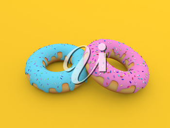 Colored donuts on a yellow background. 3d render illustration.