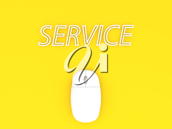 Computer mouse and service on a yellow background. 3d render illustration.