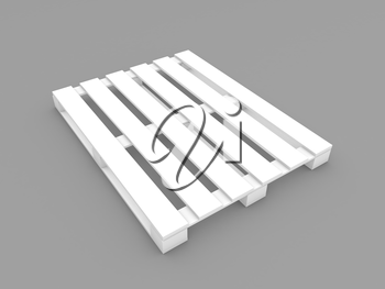 White construction pallet on a gray background. 3d render illustration.