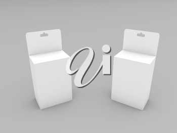 Paper boxes with a hanger on a gray background. 3d render illustration.