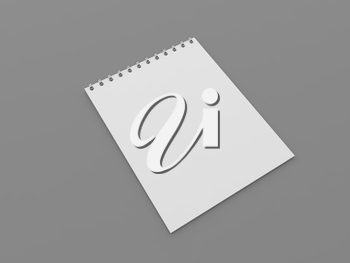 White blank notebook for notes on a gray background. 3d render illustration.