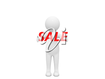 3d character and the word sale on a white background. 3d render illustration.