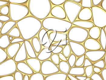 Abstract golden circles on a white background. 3d render illustration.