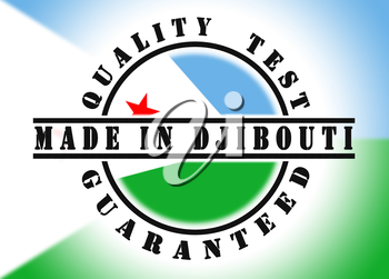 Quality test guaranteed stamp with a national flag inside, Djibouti